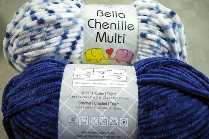 The colors of the dots coordinate very well with many of the solid colors of Bella Chenille.