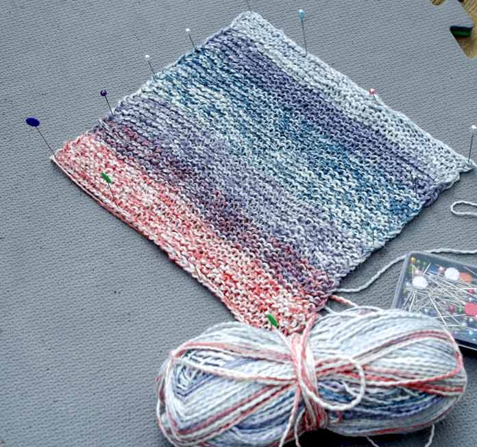 """The wool content of Unity and Unity Beyond helps with blocking. The finished piece can be stretched out to highlight lace or to modify row gauge and the wool content is sufficient to give the yarn """"memory."""""""