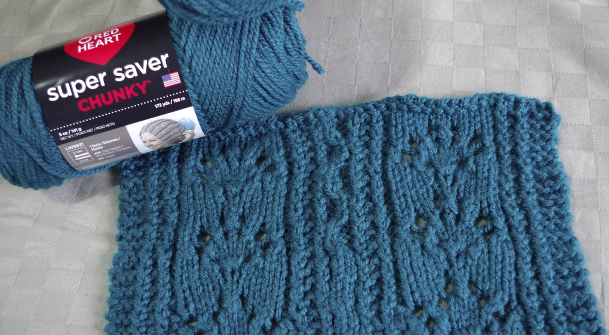 Twisted stitches and lace knit in Super Saver Chunky