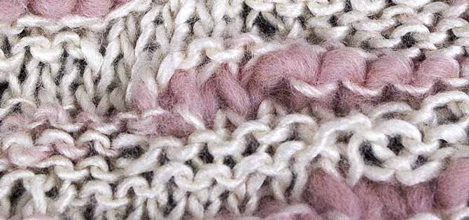 Close-up of random stitches in cowl