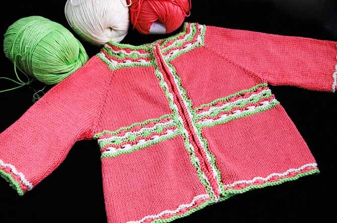 Baby jacket knit with Bamboo Pop