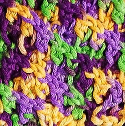 A fourth method is to crochet with variegated yarn, it does give a different look that distributes the colors well and avoids pooling completely