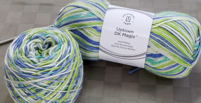 Uptown DK Magix in the colorway Summer Flies would be perfect for a light between-seasons top or a child's sweater.
