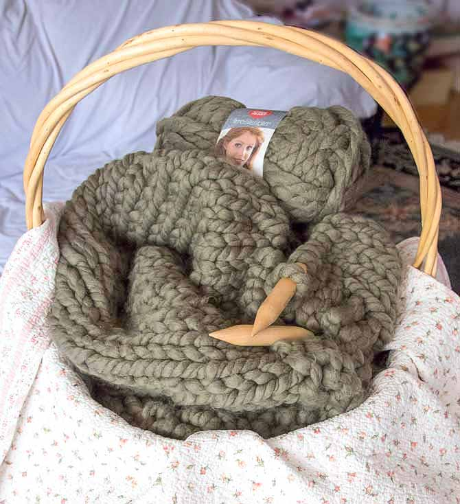 Use a very big basket or a bin to store your jumbo knit project in progress…or leave it in a spare room.