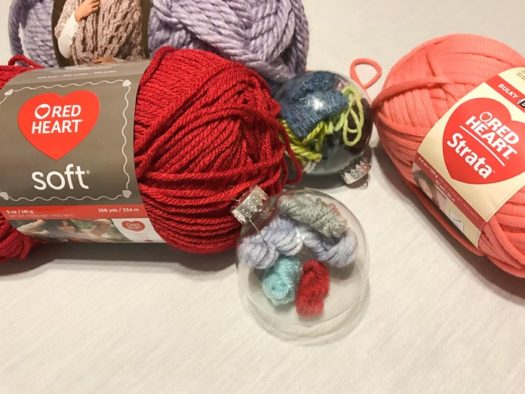 You can use any yarn, fiber, or fabric to fill these baubles