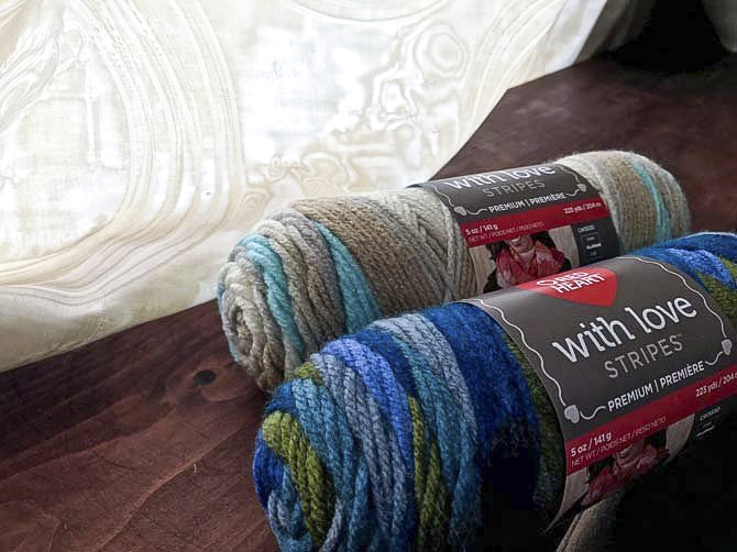 The NEW With Love Stripes yarn takes the guess work out of knitting stripes.