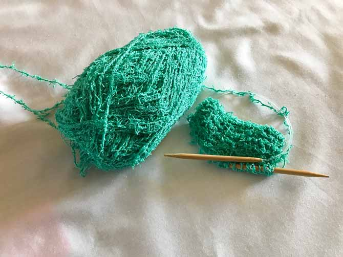 My little knitting swatch of Scrubby Cotton in Jade. Just taking it for a little test drive before the real work!