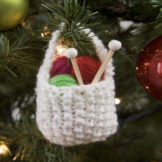 The knitted yarn basket product photo from the Red Heart website.