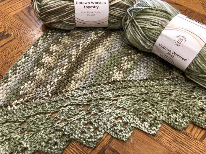 The lace edge in Uptown Worsted Mist and Uptown Worsted Tapestry.