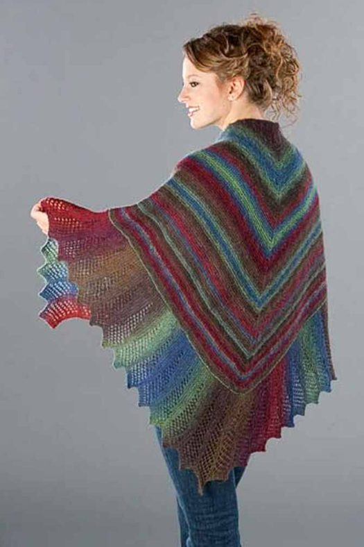 The gorgeous Lace Edge Garter Stitch Shawl shows how the stripes are wide near the neck, where the knitting starts, then narrow down toward the edging. The edging, worked sideways, has wider stripes again.