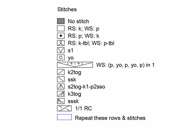 Stitch key or legend for chart symbols for wedding stole pattern