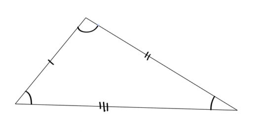 A scalene triangle comes in many shapes and sizes, but it essentially means all three sides are different lengths. This is the particular shape I'm talking about though.