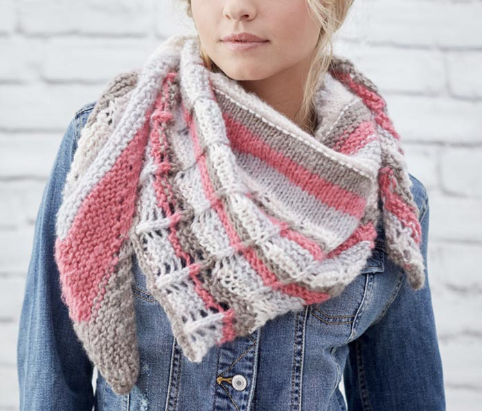The pattern photo from the Red Heart website. This was knit in Dreamy Stripes in the color Sweetdreams.