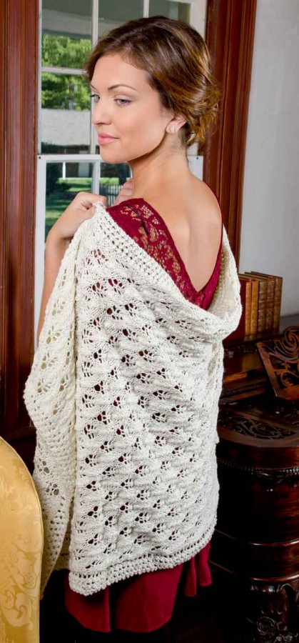 Budding Romance Shawl knit with Lady Mary yarn from the Downton Abbey Yarn Collection