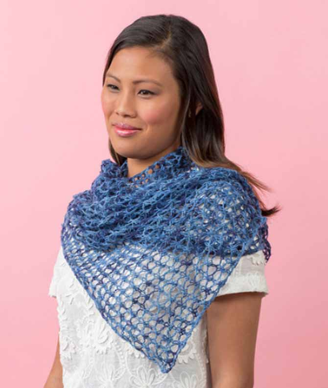 The Laid-Back Shawl calls for Heart and Sole, but substituting Creme de la Creme, a cotton yarn, makes the perfect summer accessory.