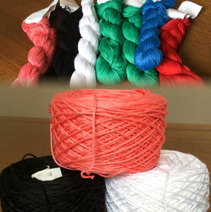"Radiant Cotton in its skein, or hank, put-up, and wound into ""cakes"", ready to knit"
