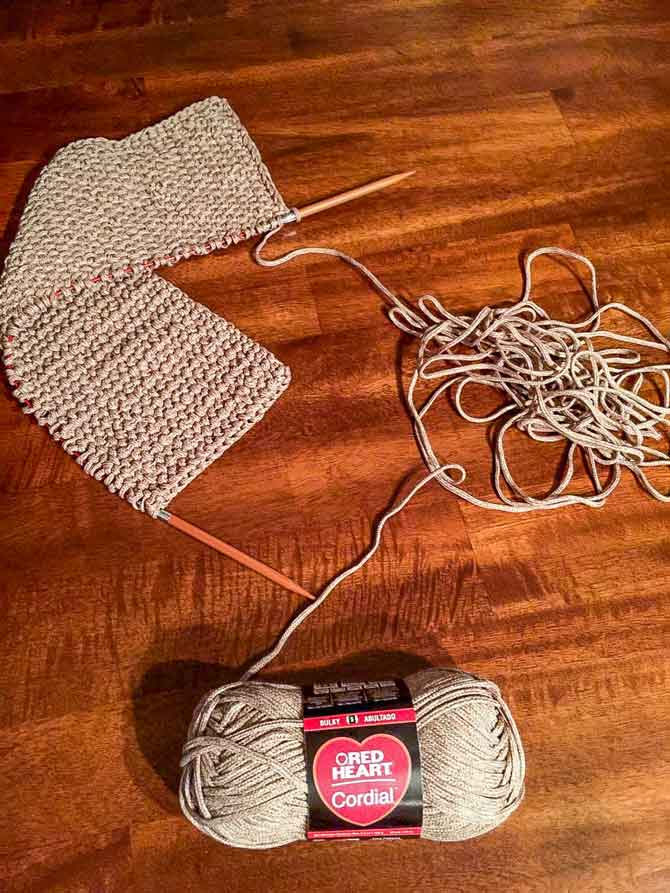 Pull a length of yarn from the ball to make for easier knitting!