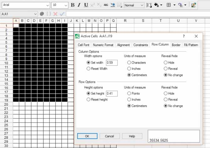 This screen capture from QuattroPro shows the row and column settings to create graph paper to chart a knitting design in the same size as the knitting.