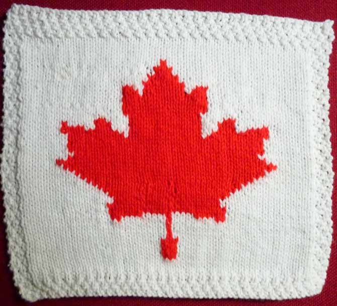 The knitted maple leaf from the chart above. Does this look squished to you?