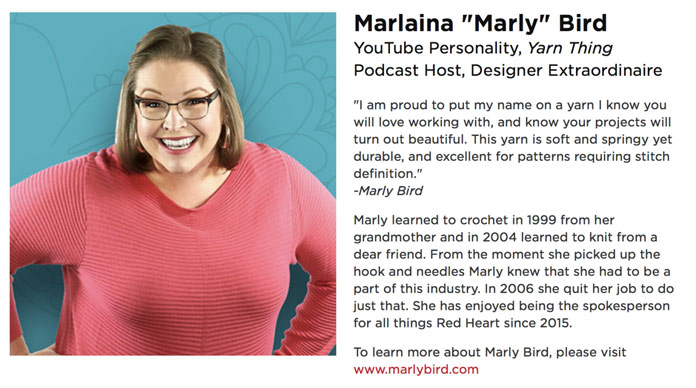 Here is a snip-it from the Red Heart website about Marly Bird.