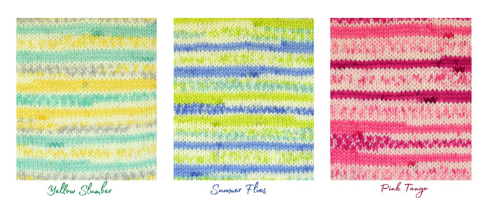 3 bright colorways of Uptown DK Magix in warm colors