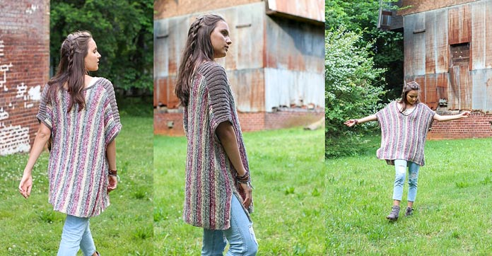 The Mojave Poncho is another design that celebrates the drape and texture of Unity and Unity Beyond.