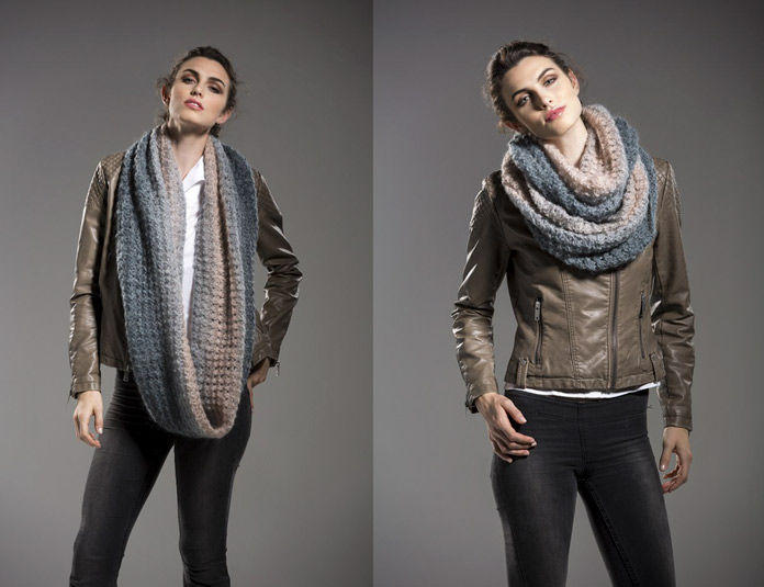 Wear this cowl as a sash-like infinity cowl, or with multiple wraps to keep out drafts.