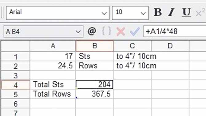 A screen capture of the spreadsheet showing the calculation for the number of stitches based on the tension sample.