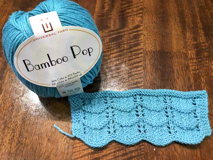 Ocean lace stitch in the color Turquoise. It really reminds me of the ocean!