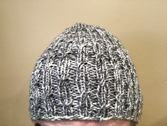 It's an incredibly comfy hat. Uptown Worsted Mist really makes a soft and warm hat.