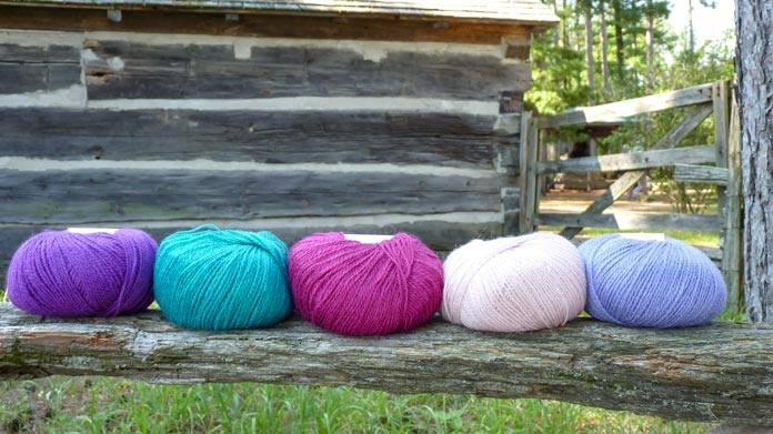 The colors for our Fair Isle gloves: l-r, Jam, Rainforest, Woodstar, Rose Quartz, and Hyacinth.