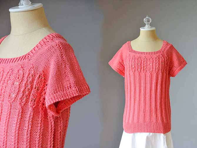 A salmon pink tee-shirt with cap sleeves that features a background of reverse stockinette and a vertical ribbing and lace panel over the bodice.