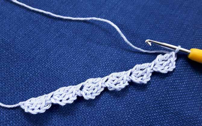 6 repeats of the scalloped pattern motif