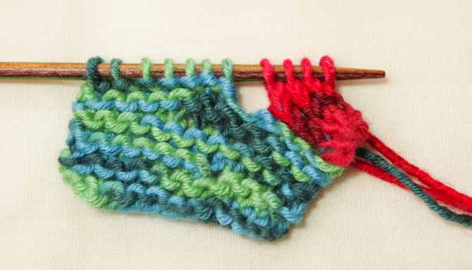 Knit 1 plain round every 4th row to avoid buckling or flaring.