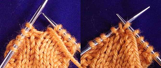 Purling into the back leg of the stitch to twist it.