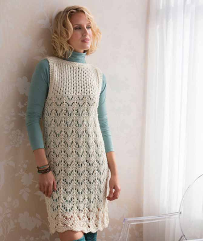 Shawls aren't the only thing lace is good for. Check out the Layered Lace Dress, a free pattern from Red Heart yarn's website.