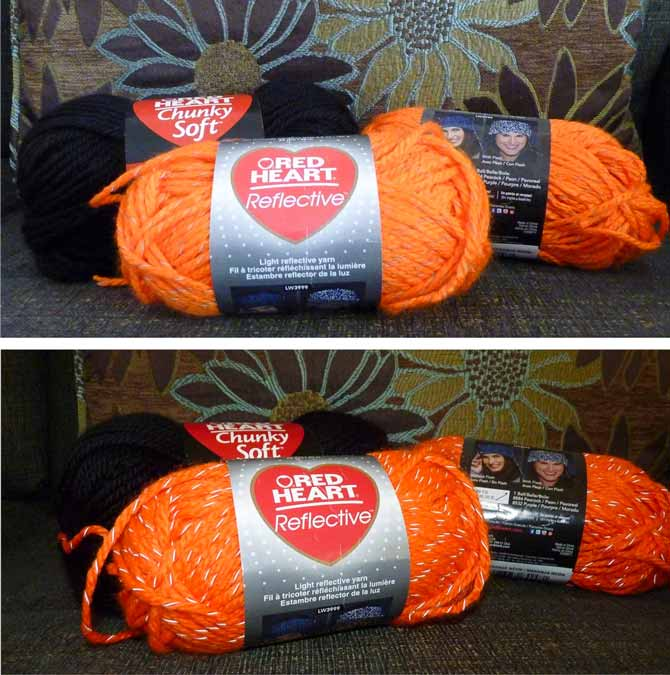 Two photographs of Reflective yarn in orange. The top photo was taken without flash, and the bottom one with flash.