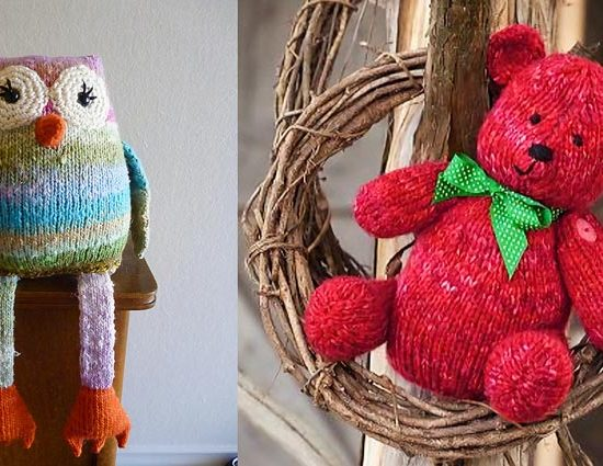 These 2 fun toys lend themselves to being worked up in a self-striping chunky weight yarn like Toy Box.