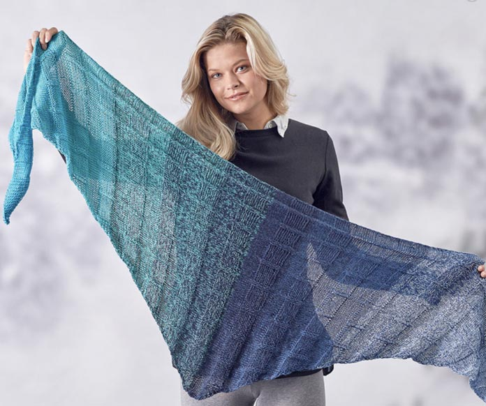 The product photo from the Squared Off Shawl pattern.