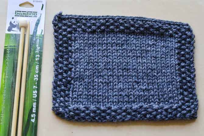 "Seed stitch is used here at the edges. It also makes a simple ""all over"" stitch for a scarf or dishcloth!"