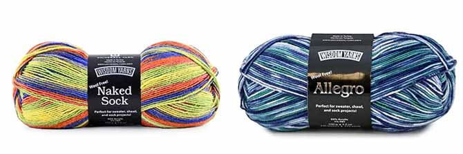A ball of Naked Sock in the purple-lime-orange colorway and a ball of Allegro in the blue-teal-grey colorway of non-allergenic sock yarns.