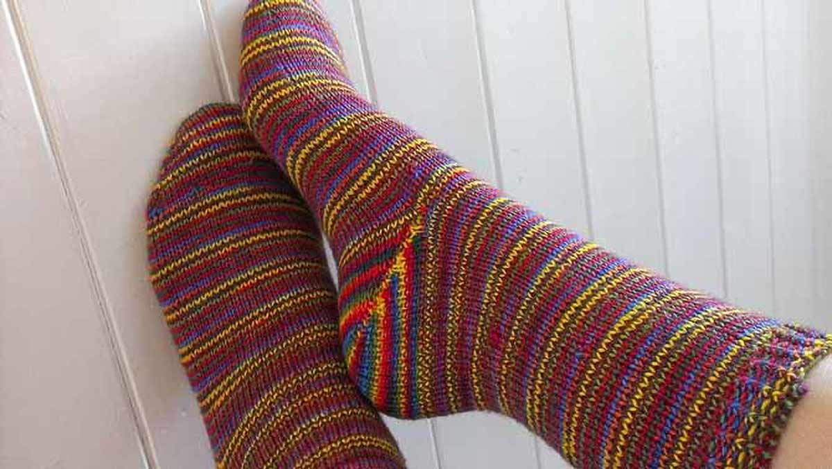 This heel would look awesome in Prose! I'm going to cast on my next pair soon! (Photo by Louise Tilbrook Designs)
