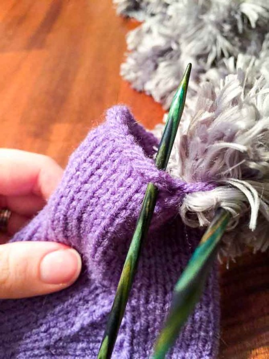 Don't pull the fur too tight or you won't be able to get your needle into the stitches on the second row!