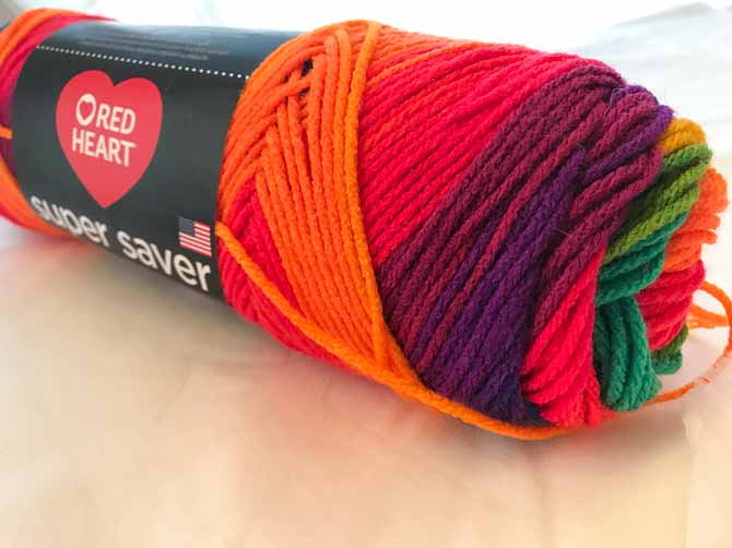 Why taste the rainbow when you can knit it in stripes? Red Heart's Super Saver Stripes are easy to knit with and come in lots of excellent colors.