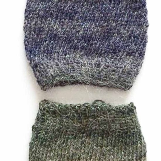 "The top sample was knit by ""throwing"" and the bottom one by ""picking""/ Continental style. While the stitches didn't straighten right up, the difference in the angle of the stitches is visible in the bottom sample."