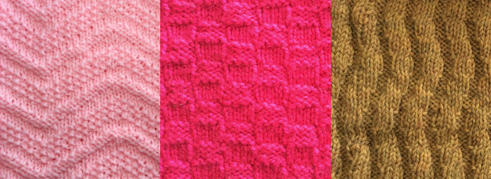 Two of these knit-and-purl pieces are knit-and-purl designs, and the other one is a rib pattern. Can you identify which is which?
