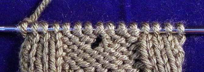 Knit eyelet stitch, knit to the end of the row