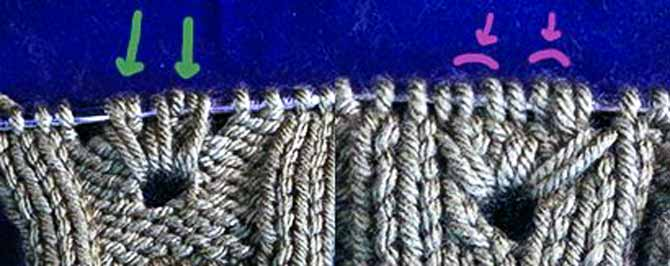 Identifying the tuck stitches and neighboring purl stitches