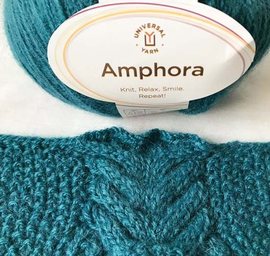 The swatch for the scarf pattern and the ball of Amphora in Caspian. This color is my absolute favorite, beautiful teals are hard to find!