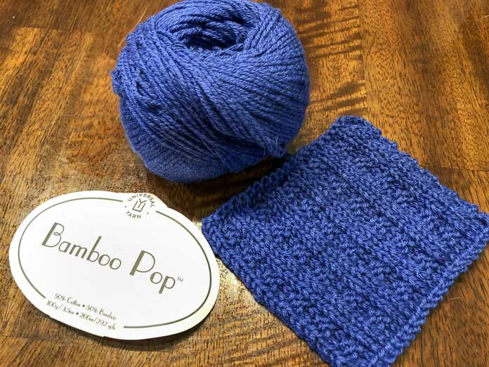 Bamboo Pop in the color Royal worked with a Waffle stitch